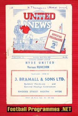 Hyde United v Runcorn 1953 - to clear