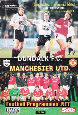 Gino Lawless Testimonial Benefit Dundalk Manchester United 1994
