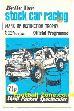 Belle Vue Stock Car Racing 1971 - Mark Of Distinction Trophy