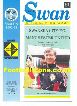Alan Davies Testimonial Benefit Match Swansea City Man Utd 1992