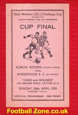 Albion Rovers v Kingswood 1939 - Cup Final - RARE