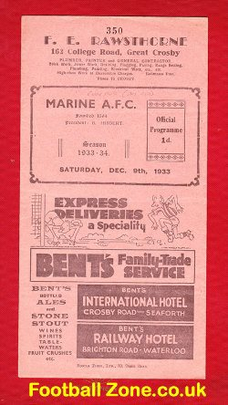 Marine Athletic v Cockfield 1933 - Rare 1930s Programme