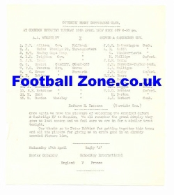 AA Wymans Rugby v Oxford + Cambridge Uni 1937 at Coventry