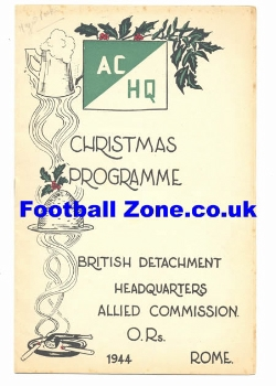Army v Officers 1944 Rome - Very Rare Programme