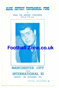 Allick Jeffrey Football Testimonial Benefit Manchester City 1972
