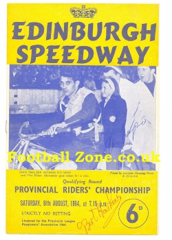 Edinburgh Speedway Provincial Riders Championship 1964 Signed