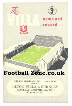 Aston Villa v Burnley 1951
