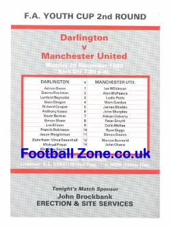 Darlington v Man Utd 1990 - Youth - Ryan Giggs