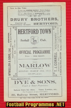 Hertford Town v Marlow 1932 - Rare 1930s Programme