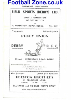 Derby Rugby v All Midlands XV 1952