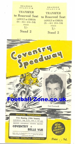 Coventry Speedway v Belle Vue 1965 + Two Tickets