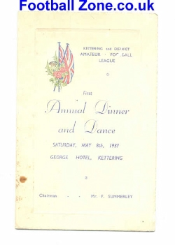 Dinner Dance Menu at Kettering Hotel Amateur Football 1937