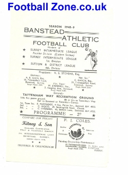 Banstead Athletic v Manor Rovers 1949 - Juniors Football Match