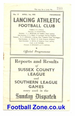 Lancing Athletic v Bexhill 1950 - Friendly Match