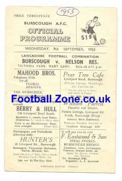 Burscough v Nelson 1953 - Reserves Match