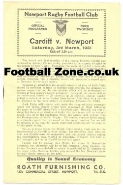 Cardiff Rugby v Newport 1951