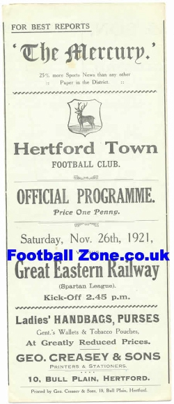 Great Eastern Railway v Hertford Town 1921 - Rare Old Programme