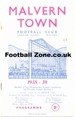 Malvern Town v Quarry Bank Celtic 1958