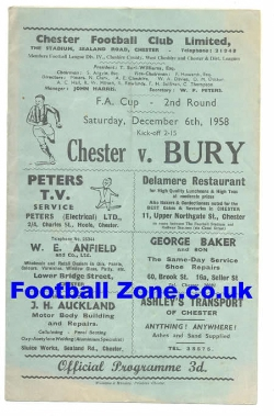 Chester City v Bury 1958