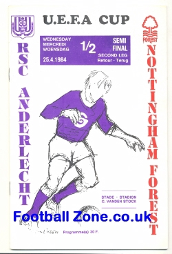 Anderlecht v Nottingham Forest 1984 - UEFA Cup Semi Final