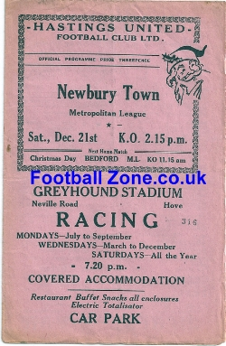 Hastings United v Newbury 1958