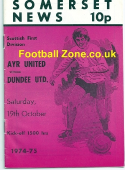Ayr United v Dundee United 1974 - Signed Filippi + Kopel
