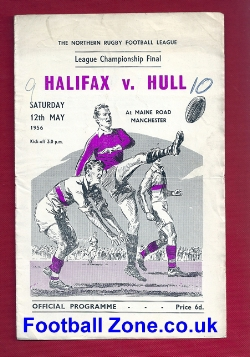 Halifax Rugby v Hull 1956 - Maine Road Manchester Final