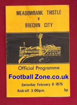 Meadowbank Thistle v Brechin City 1975 Multi Signed - 1st Season