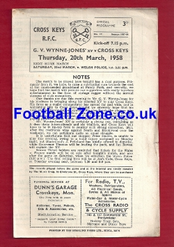 Cross Keys Rugby v G V Wynne Jones 1958