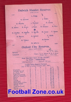 Dulwich Hamlet v Oxford City 1961 - Reserves Match