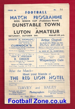 Dunstable Town v Luton Amateurs 1950s - Senior Cup
