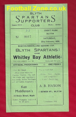 Blyth Spartans v Whitley Bay 1956 - Northumberland Senior Cup