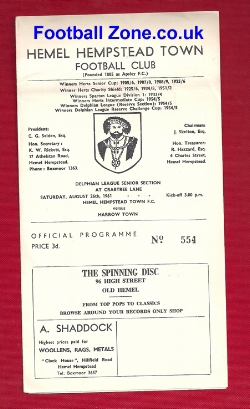 Hemel Hempstead v Harrow 1961 - Delphian League