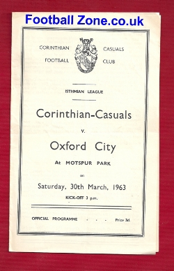 Corinthian Casuals v Oxford City 1963 - Motspur Park