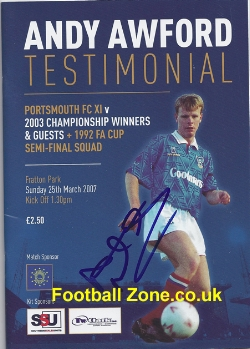 Andy Awford Testimonial Benefit Match Portsmouth 2007 - Signed
