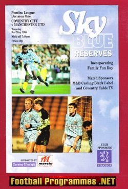 Coventry City v Man Utd 1994 - Reserves - Beckham