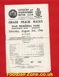 Coventry Grass Track Speedway Programme 1946