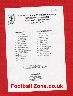 Aston Villa v Man Utd 1993 - Reserves Match - David Beckham