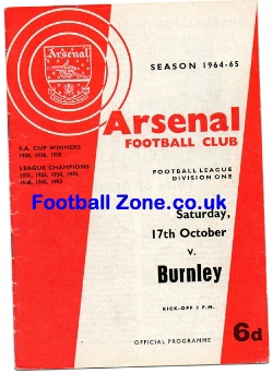 Arsenal v Burnley 1964