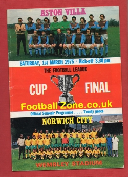 Aston Villa v Norwich City 1975 - LC Cup Final Ticket Signed