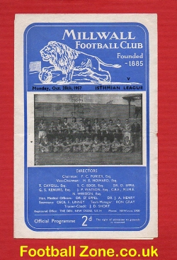 Millwall v Isthmian League 1957 - Multi Autographed Signed