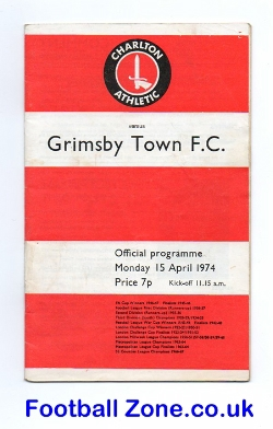 Charlton Athletic v Grimsby Town 1974