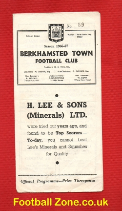 Berkhamsted Town v Badlock Town 1957 - Charity Shield - Signed