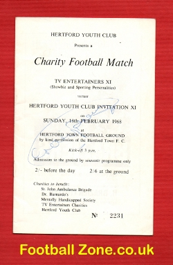 Hertford Youth v TV Entertainers X1 1968 - Multi Autographed