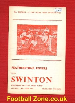 Featherstone Rovers Rugby v Swinton 1970