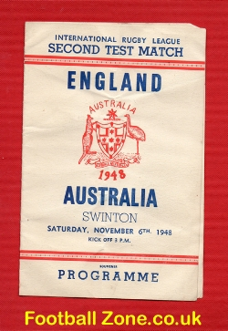 England Rugby v Australia 1948 - Test Match at Swinton