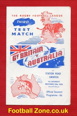 England Rugby v Australia 1956 - at Swinton
