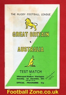 Great Britain Rugby v Australia 1973 - at Warrington