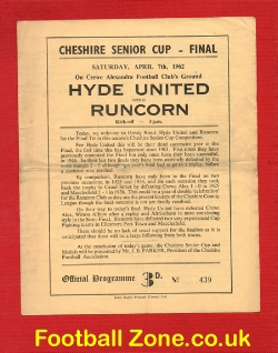 Hyde United v Runcorn 1962 - Senior Cup Final at Crewe