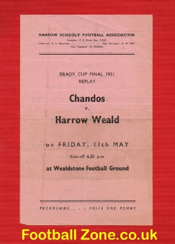 Chandos v Harrow Weald 1951 - Brady Cup Final Replay - Rare